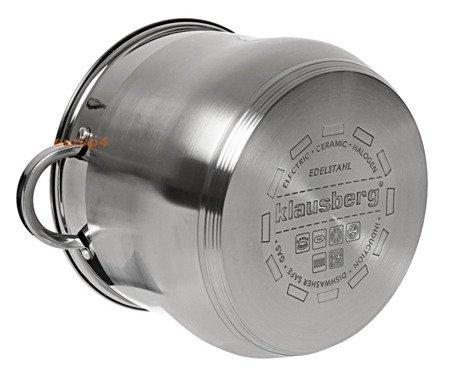 Garnek stalowy z pokrywką Klausberg KB 7166 Indukcyjny 16 L