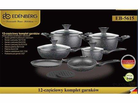 Garnki Edenberg EB 5615 Indukcja zestaw garnków marmurowych z pokrywkami i podstawkami