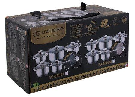 Garnki stalowe Edenberg EB 9999 M Zestaw Garnków indukcyjnych