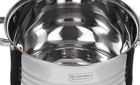 Garnki w zestawie Edenberg EB 525 Komplet trzech stalowych garnków na indukcję