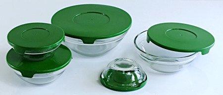 Miski E88 pojemniki szklane z pokrywkami 10 elementów zielony