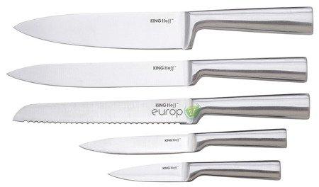Noże KingHoff KH 1153 kuchenne stalowe + stojak zestaw noży
