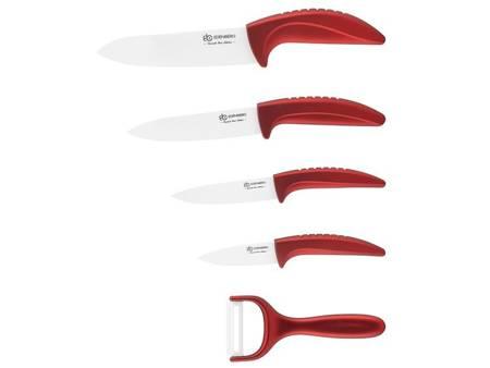 Noże ceramiczne kuchenne Edenberg EB 7751R w stojaku czerwone