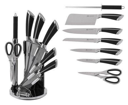 Noże kuchenne Edenberg EB 700 stalowe + stojak zestaw noży
