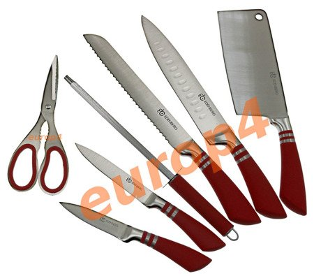 Noże stalowe Edenberg EB 907 kuchenne stojak zestaw metal CZERWONE