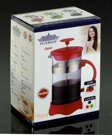 Szklany Peterrhoff PH 12531- 8 zaparzacz do herbaty ziół kawy dzbanek 800 ml czerwony