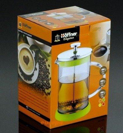 Szklany zaparzacz Hoffner HF 1128 do herbaty 600 ml ziół kawy dzbanek zielony
