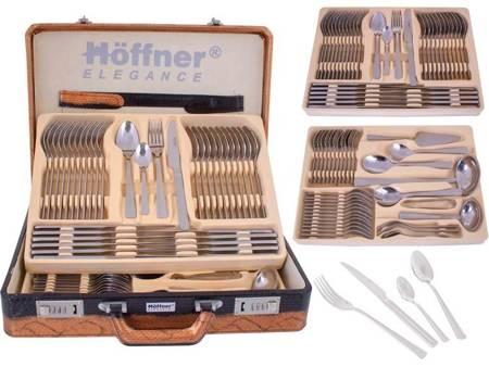 Sztućce w walizce Hoffner HF 2842 72 elementy 12 osób zestaw widelce+łyżki+walizka satyna