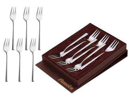 Widelczyki Amefa Metropole 1170 deserowe do ciasta w ozdobnym brązowym pudełku zestaw 6 szt