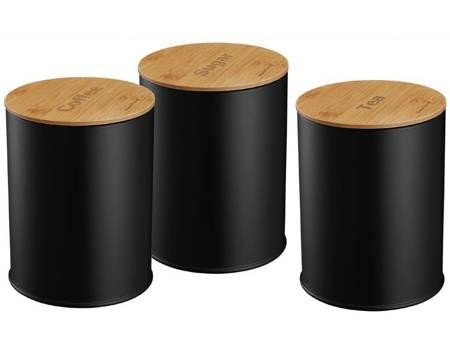 Zestaw 3 pojemników Klausberg KB 7490 do herbaty kawy cukru czarne